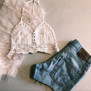 White Crochet Halter Bralette